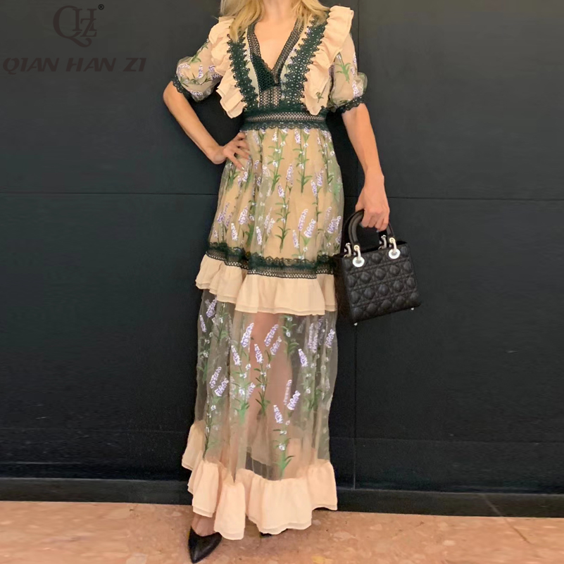 Qian Han Zi Designer dress ผู้หญิงครึ่งแขนตาข่ายคุณภาพสูงปัก V Neck Ruffled Lace Vintage Elegant Maxi ชุด-ใน ชุดเดรส จาก เสื้อผ้าสตรี บน   1