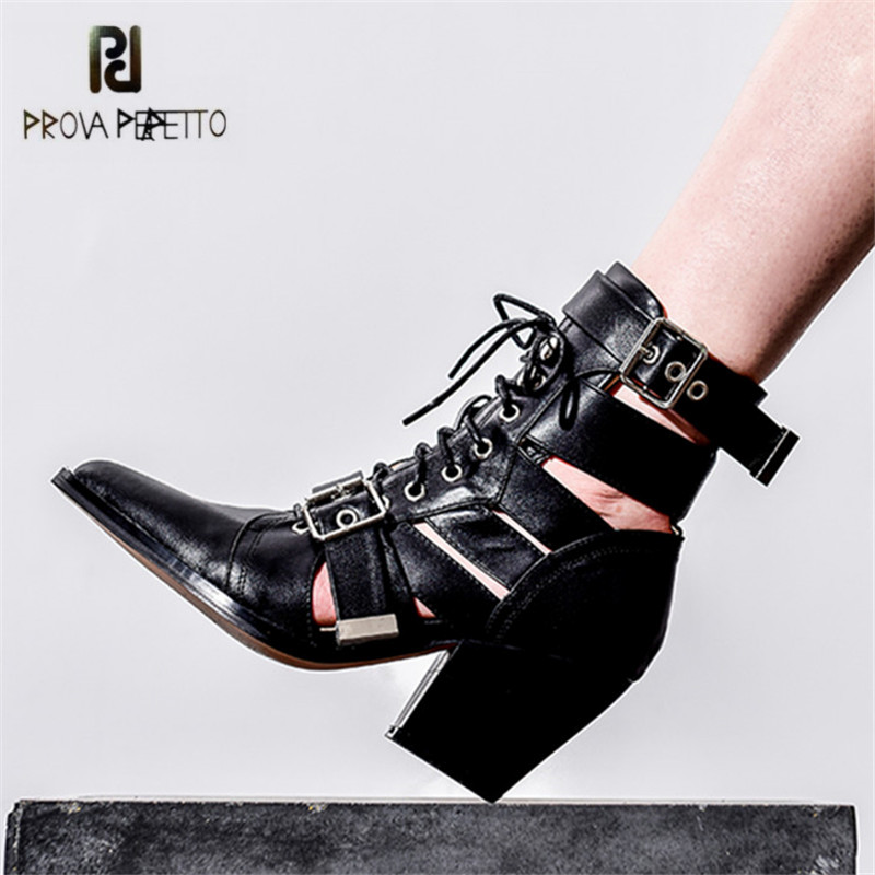 Prova Perfetto Sexy Black Women Ankle Boots Hollow Out Chunky High Heel Shoes Woman Straps Summer Boot Pointed Toe Women Pumps prova perfetto design women gladiator sandals summer boots sexy chunky high heels hollow out strap sandal women pumps ankle boot