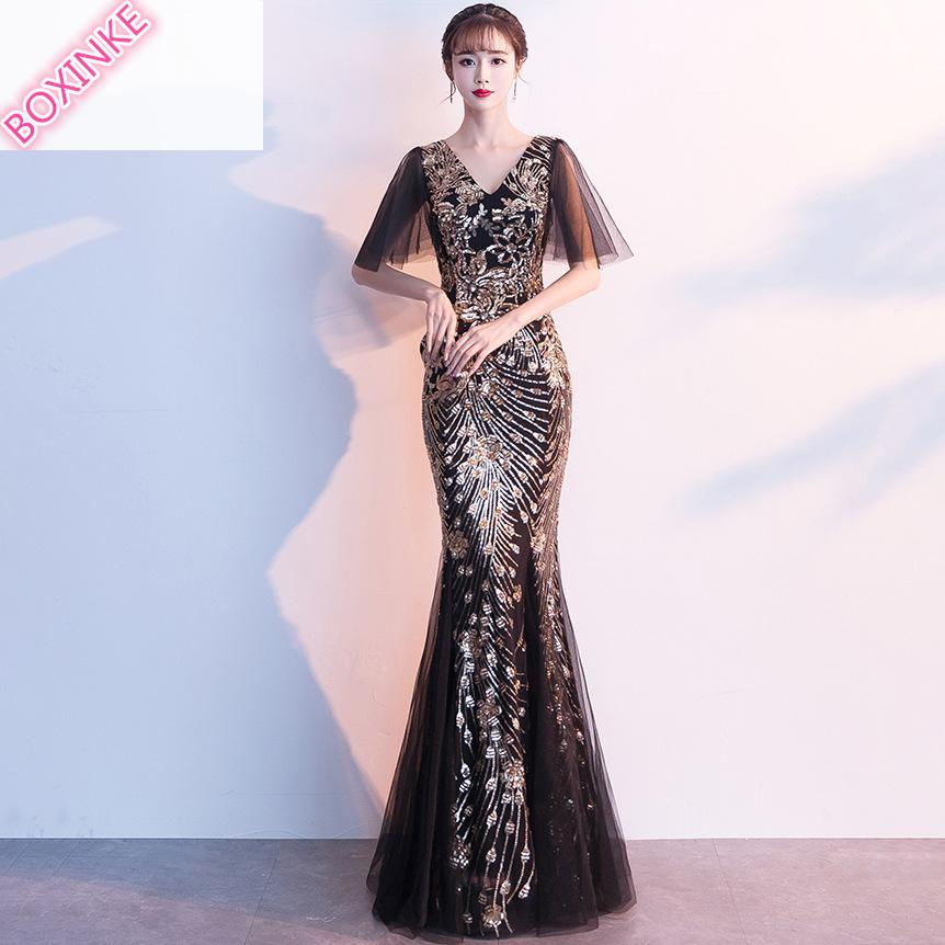 2019 Rushed Ukraine Dress Vestido De Festa Summer New And Sequined Long Banquet Noble Sequin Host
