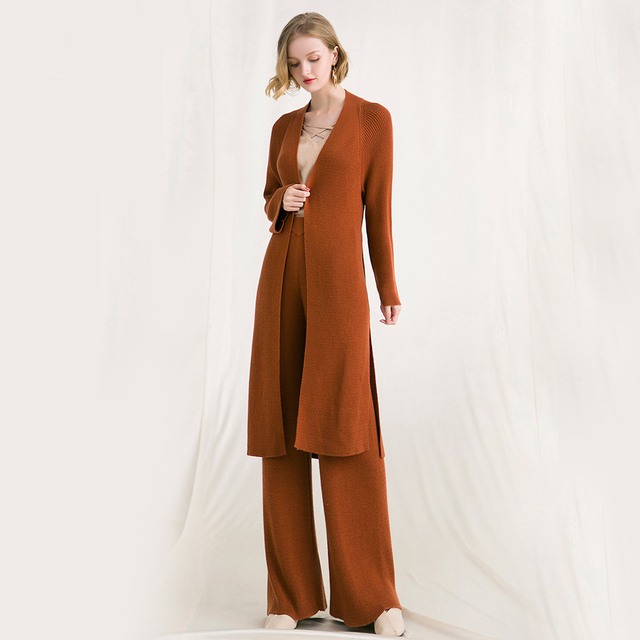 Knitted Suits Women Two Pieces Set Wool Blends Long Sleeves Sashes Full Length Pants 2 Colors Simple Design Elegant Style 2018