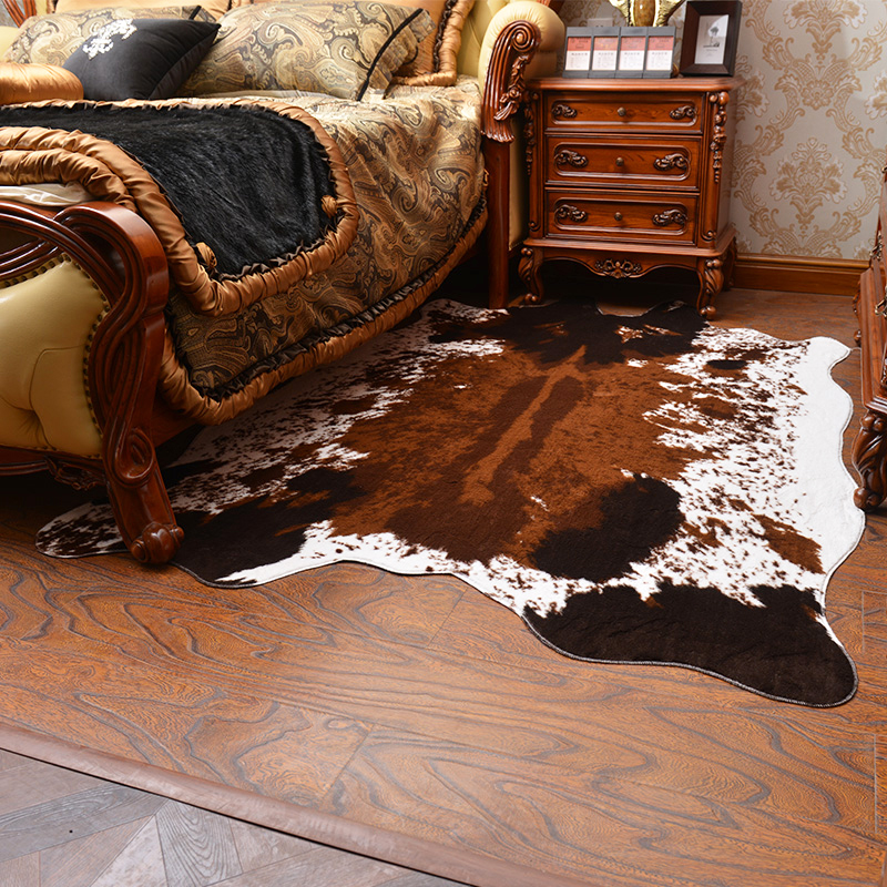 Soft Artificial Fur Carpet Black White Cow Printed Rugs and Carpets for Living Room Bedroom Warm Sofa Decoration Mats