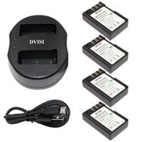 4pcs 7.4V 1800mAh EN EL9 EN EL9 ENEL9 Recharger Batteries with USB Charger for Nikon EN EL9a D40 D40X D60 D3000 D5000 Camera