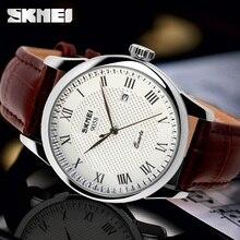 Skmei hombres relojes de pulsera de cuarzo marca de lujo reloj de los hombres de cuero casual de negocios de moda reloj impermeable relogio masculino relojes