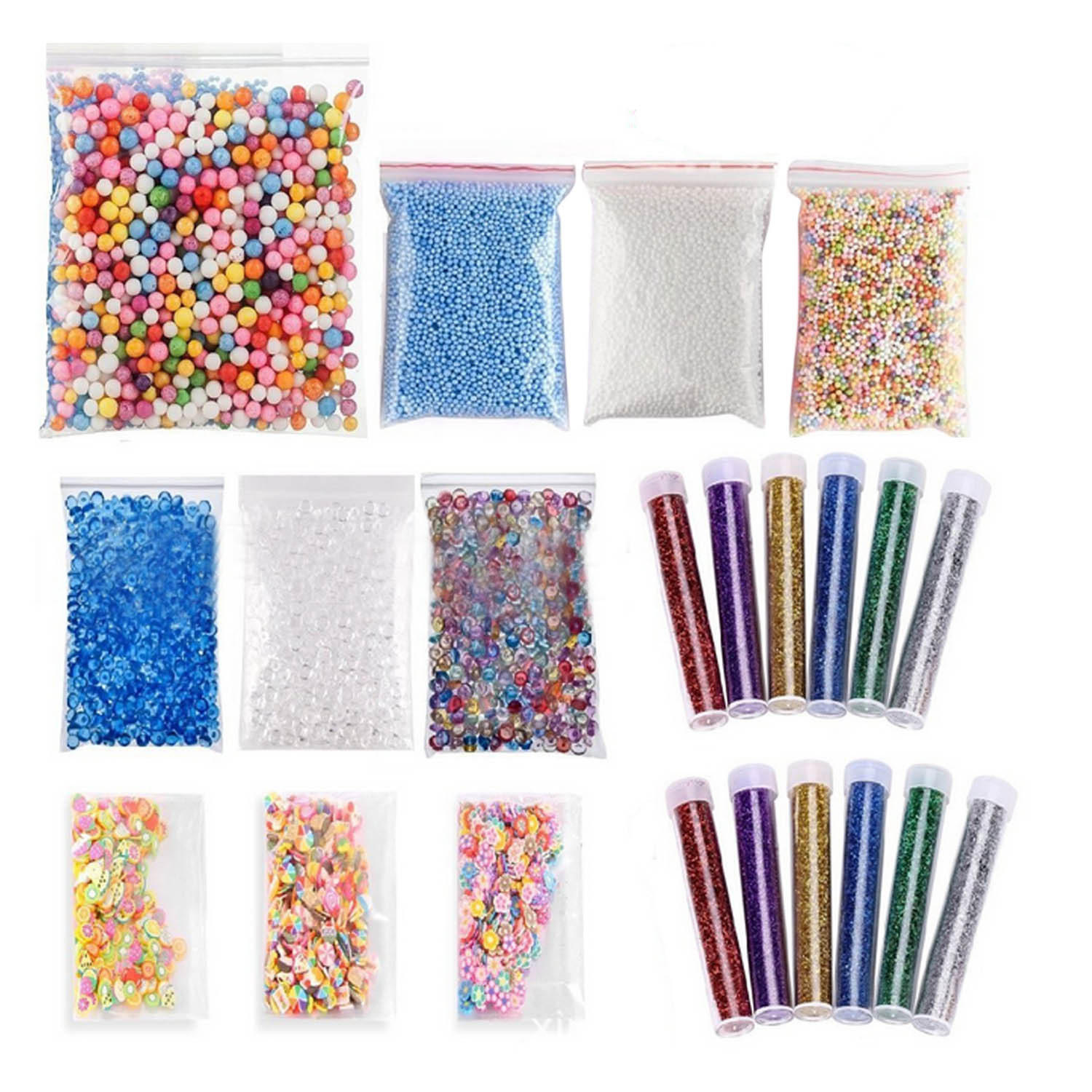 Colorful Styrofoam Beads Foam Balls Glitter Various Shaped Slice Kit for Slime DIY Craft ...