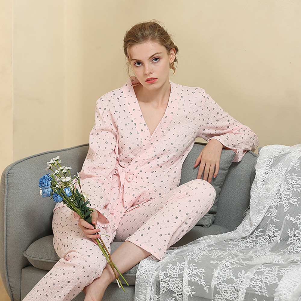 Pink White Solid Color For Sexy Leisure Women Ladies' Cotton Housedress Polka Dot Long Sleeve Pajamas Set #G40