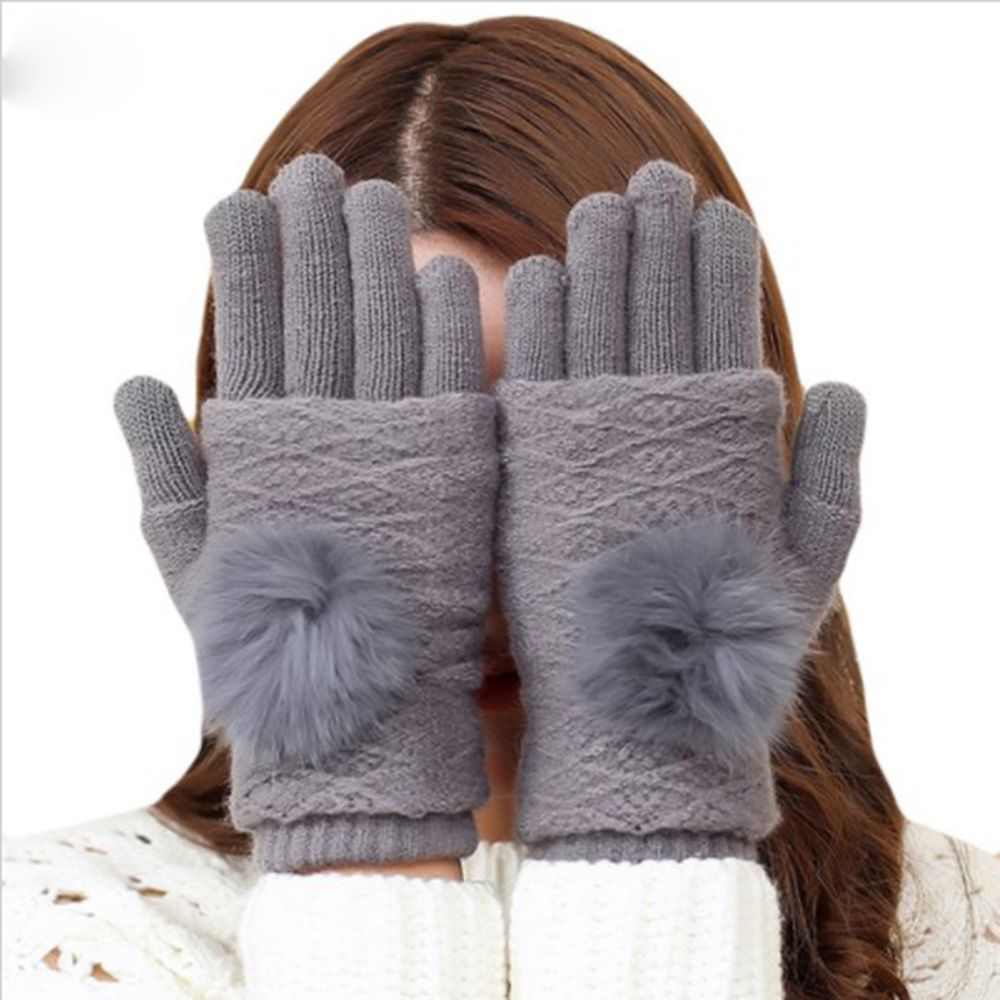 Women Detachable Dual Layer Winter Gloves Womens Warm Pompoms Fur Ball Fingerless Gloves Screen Touch Cashmere Knitted Mittens