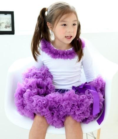 Юбка-американка для девочек Петти юбка-пачка для танцев желтый цвет пышная Мягкая юбка Юбка-пачка для девочек - Цвет: purple