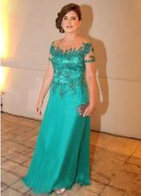 Mintgrün 2017 Mutter Der Braut Kleider A-line Chiffon Cap Sleeves Appliques Lange Abendkleider Mutter Kleider Für Hochzeit