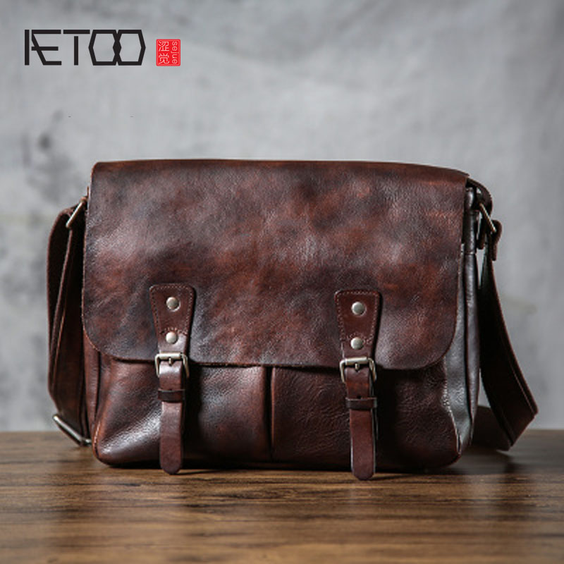 AETOO Handmade tannery Europe and the United States retro to do the old messenger bag male original design leather shoulder bag aetoo pure leather europe and the united states japan and south korea fashion retro bag leather leather casual daily travel back