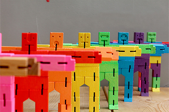 Wooden Robot Cubebot  Color Bundle/ Wooden Cube Robot/folding wooden cube robot/ 9 color and models avalible
