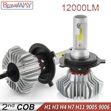 BraveWay LED Light Bulbs for Cars H7 H4 H1 Led Bulbs 12000LM 80W 12V Car Light Ice Bulb H1 H4 H7 H11 HB3 9005 BH4 9006 Headlight braveway h1 led headlight for car h7 led bulb h11 lights for auto 9005 9006 hb3 bh4 lamp h4 12000lm 6500k 80w 12v 24v car light