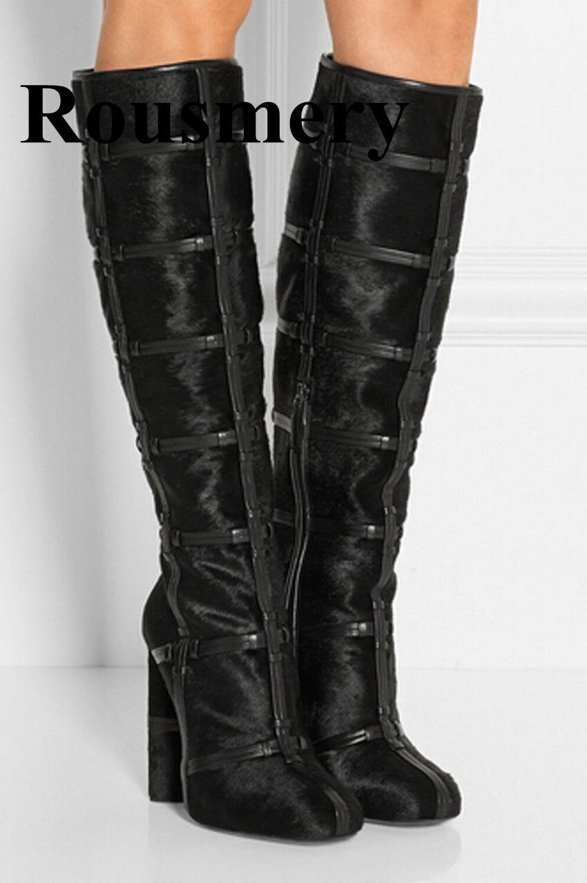 0936ca6981ef0d Kopen Goedkoop Nieuwste Vrouwen Mode Zwarte Plaid Dikke Hak Knie Hoge Vrouwen  Winter Laarzen Ronde Neus Designer Laarzen Online