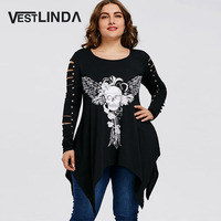 VESTLINDA Women Fashion Casual T Shirts Plus Size Skull Shredding T Shirt Female Round Neck Long