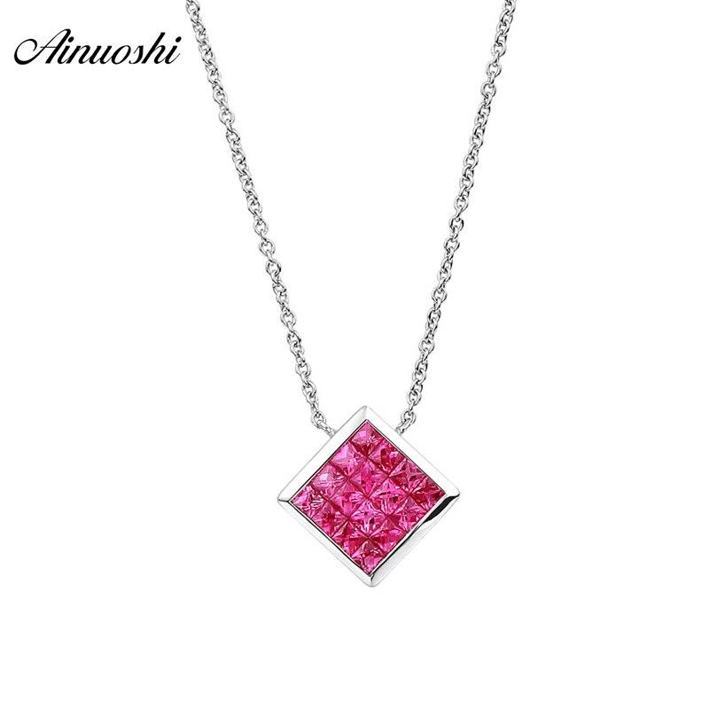 AINUOSHI 18 K rubis naturel pierre précieuse or blanc pendentif carré collier AU750 Fine chaîne de lien de mariage bijoux fins pour femme