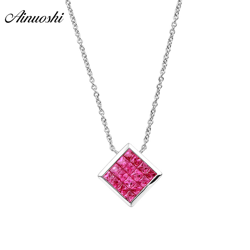 все цены на AINUOSHI 18K Natural Ruby Gemstone White Gold Square Pendant Necklace AU750 Fine Wedding Link Chain Fine Jewelry for female онлайн