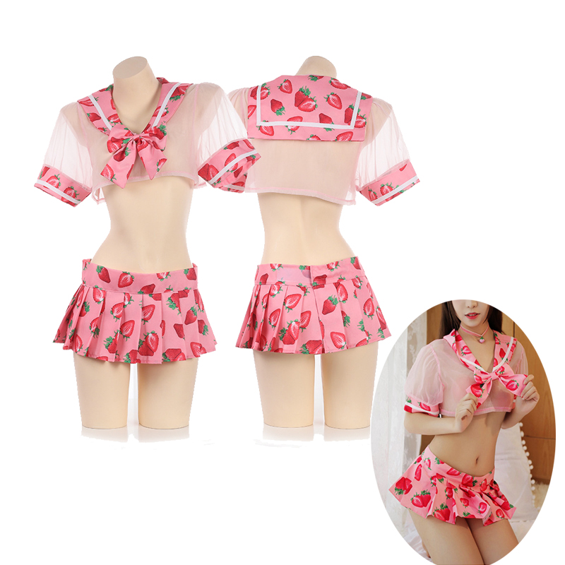 Kwaii Strawberry Transparent Bra Panty Underwear Sleepwear Japanese Sexy Lolita Girl Lingerie Intimates Sailor Uniform 4pieces