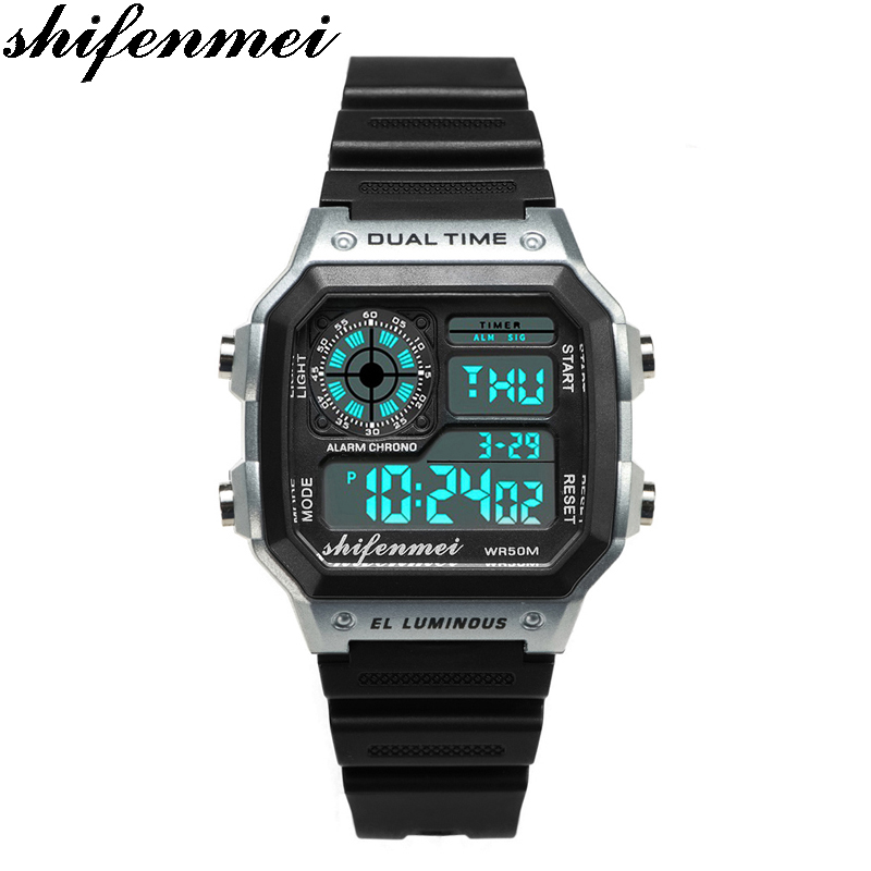 Shifenmei S1133 Men LED Electronic Digital Display Watches Retro Style Relogio Hombre Men's Women Watch Relogio Masculino