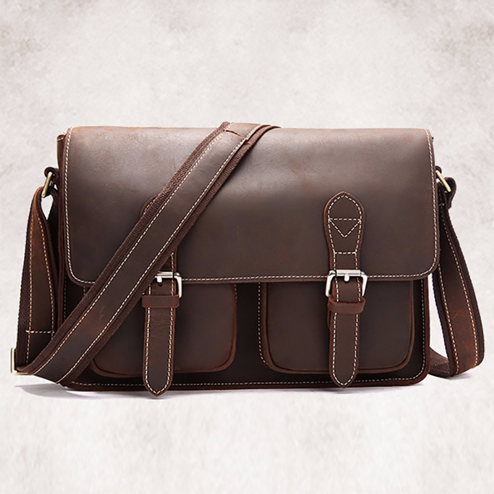 Crazy Horse Cowhide Shoulder Bag Men Messenger Briefcase Travel Casual Vintage Designer Genuine Real Leather Male CrossBody Pack designer second layer crazy horse leather briefcase men messenger shoulder bag laptop bag maletin hombre negocios bookbag b00021