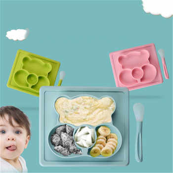 ideacherry Babies Silicone Plate Creative Cartoon Feeding Dishes Mat Placemat for Infant with Spoon Strong Suction BPA Free Tray