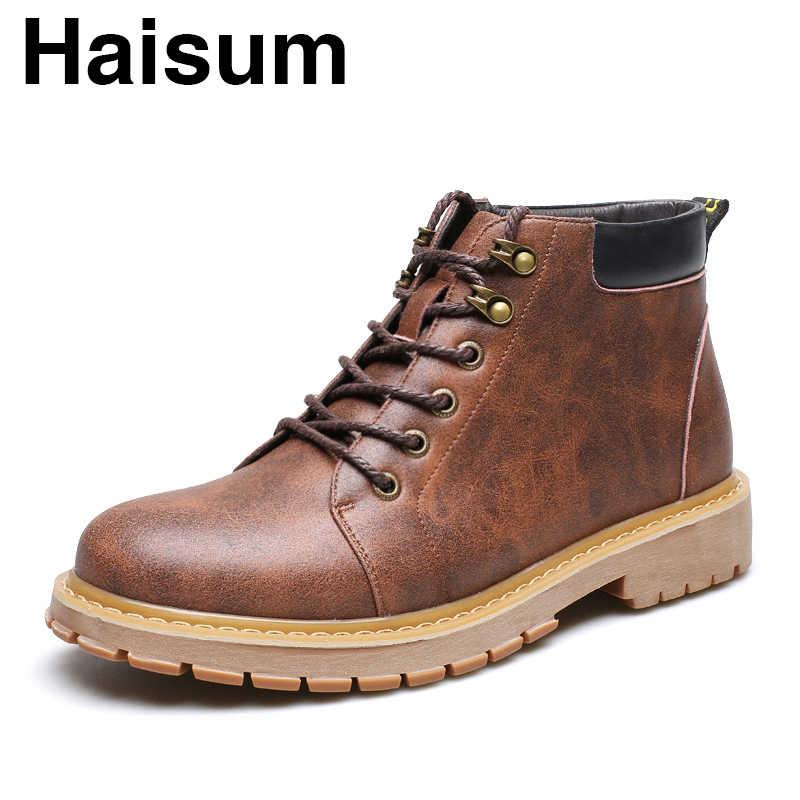 Erkek botları moda rahat Haisum botları düşük tüp kalın kısa çizmeler yuvarlak kafa kalın çizmeler erkek ayakkabıları H-1259