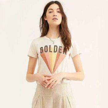 KHALEE YOSE Golden Graphic Tee Beige Summer Shirts Women 2019 Hippie Cotton Tshirt O-neck Hippie Gypsy Tops Tee Female T Shirt