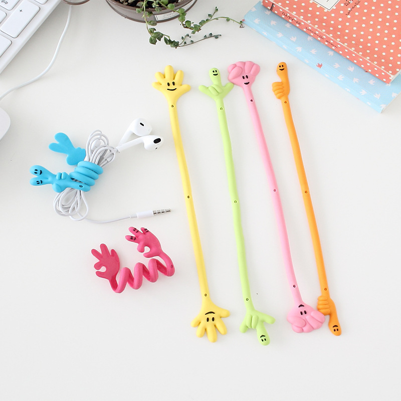 10pcslot Good Gifts Finger Expression Bending Strip Earphone Cable Wire Cord Organizer Holder Winder For Headphone Wire Storage