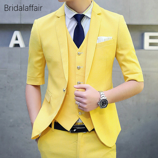 906867f38 KUSON Men Suit Set Short Sleeves Blazer Yellow Tuxedo Slim Fit Suits for Wedding  Prom 3Pcs Mens Formal Suits (Jacket+Pants+Vest)
