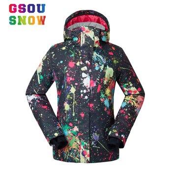 62dbd1c461cf4 GSOU SNOW Brand лыжная куртка женская сноуборд куртки зима водонепроницаемый  ветрозащитный защита от снега пальто женские