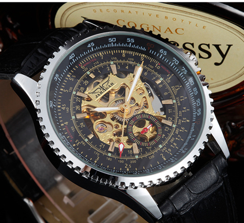 Fashion JARAGAR Men Luxury Brand Watch Leather Band Watches Skeleton Automatic Mechanical Wristwatch Gift Box relogio masculino blue causal random floral print drawstring polo neck long sleeves hoodies
