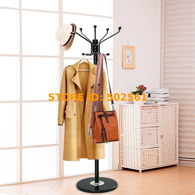 Coat Stand Hat Clothes Jacket Umbrella Free Standing Rack Hanger Marble 12 Hooks HOT SALE premier housewares 1880mm oak wood floor standing coat hat rack