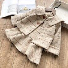 Conjunto de Ropa para Niñas chaqueta de manga larga con vestido entero 2 uds ropa de invierno de lana Vintage a cuadros trajes para Niñas Ropa para niños