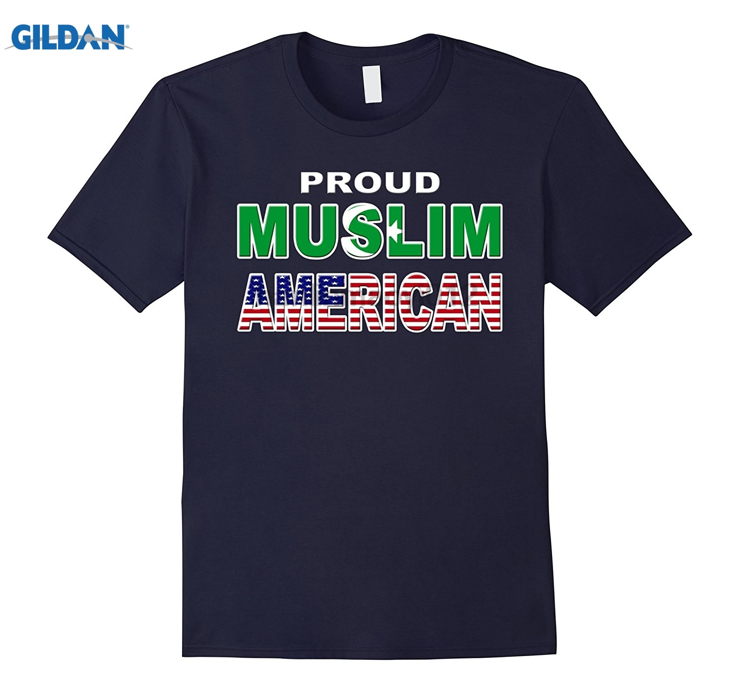 GILDAN Proud Muslim American Tee Supports Religious Diversity glasses Womens T-shirt