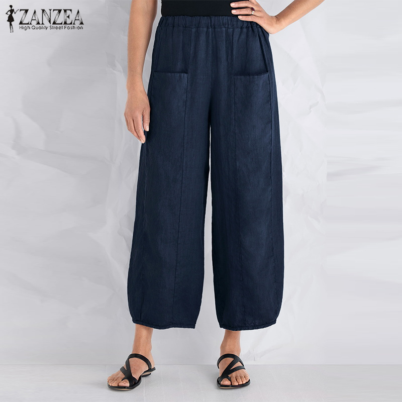 2019 ZANZEA Cotton Linen OL   Wide     Leg     Pants   Summer Women Pantalon Vintage Waist Pockets Loose Casual Work Long Harem Trousers