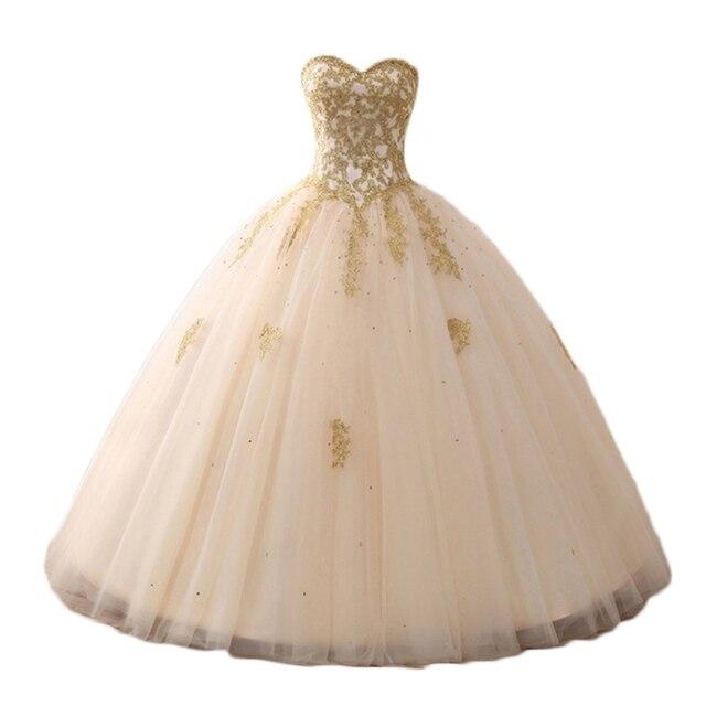 ANGELSBRIDEP Vestidos Champagne Lace Applique Tulle vestido de Baile Quinceanera Doce 16 Vestidos Mulheres Vestidos de Debutante