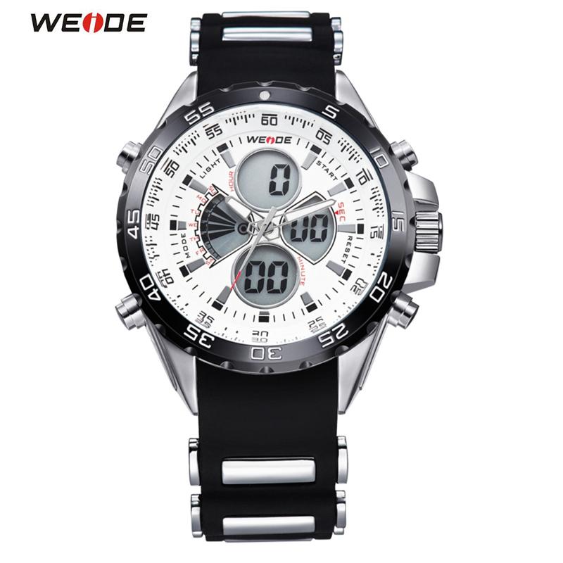 Prix pour Célèbre Marque WEIDE Montre de Sport 3ATM Numérique Étanche Bracelet En Silicone Hommes Quartz de Mode Hommes Casual Montre-Bracelet