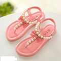 Children baby popular pearl bowtie girls sandals kids Summer breathable shoes elastic band flats princess sandals single shoes