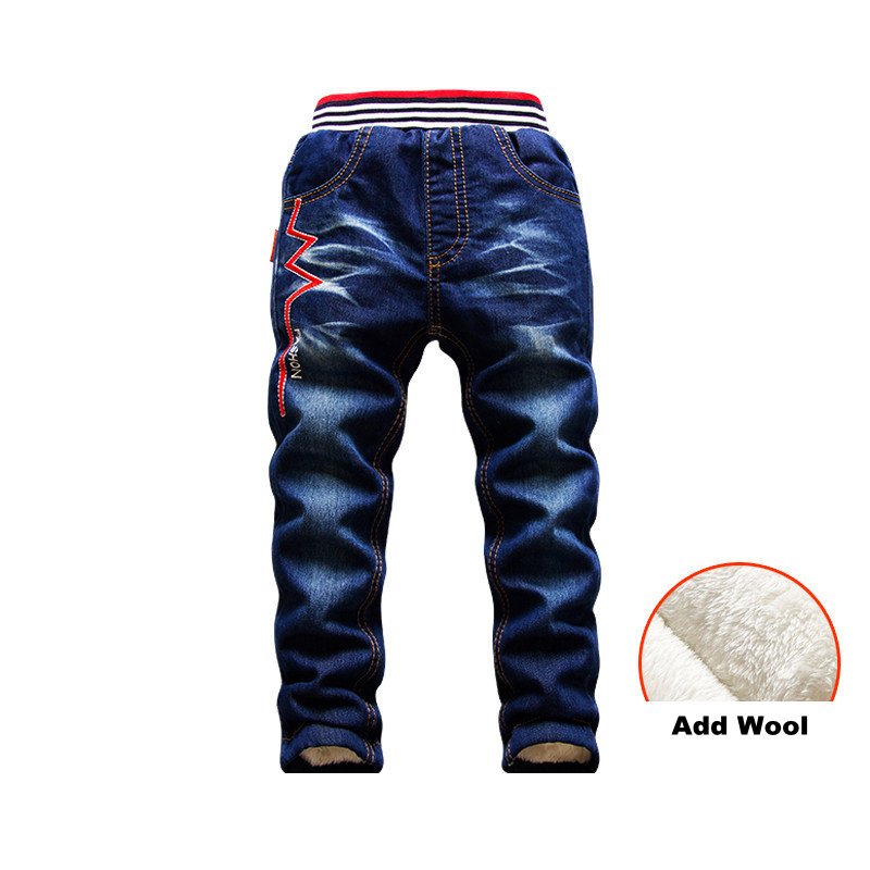 Image 3 - 2 15Y children Winter Pants Warm Add Wool Denim Trousers for Teenage Boys Casual Mid Elastic Waist Water Jeans Soft Cotton PantsJeans   -