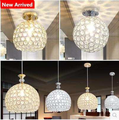 Minimalist Single head D15cm crystal ceiling lamp led aisle lights Stainless steel corridor home balcony dining room lighting american copper led lamp crystal aisle ceiling lamp corridor balcony ceiling lights storage room light fixtures home lighting