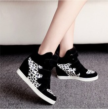 Women Boots new style  Height Increasing  Winter  Boots Fashion Leopard Woman Shoes 2015 fashion Martin Boots BT54