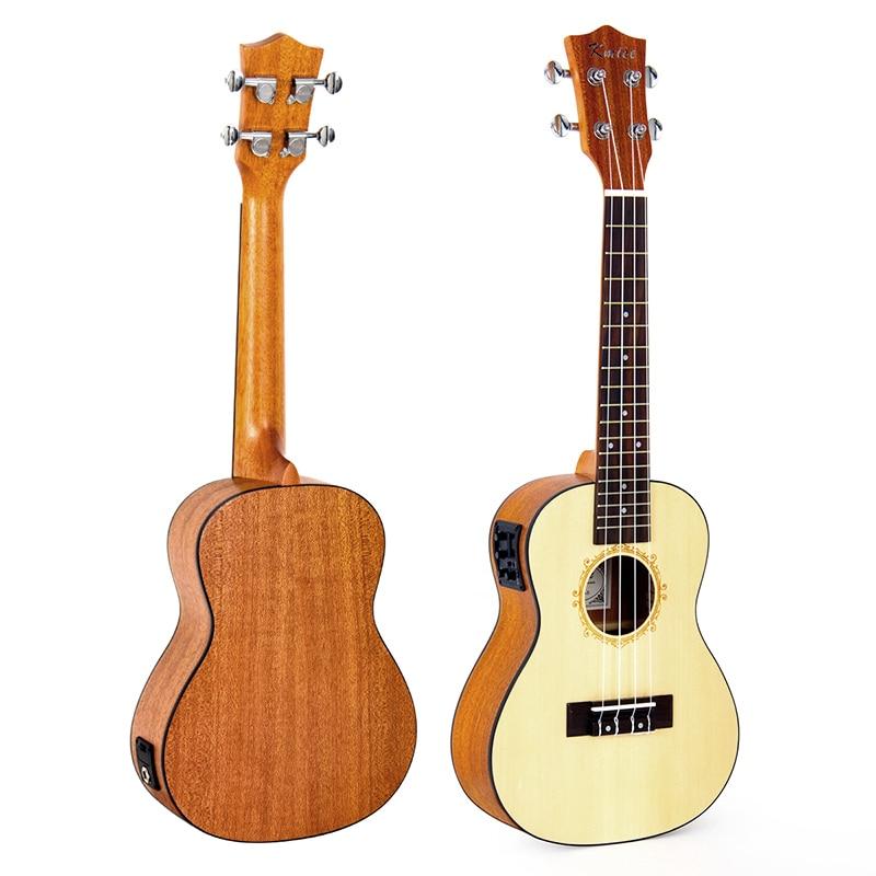 Kmise Concert Ukulele Electric Acoustic Solid Spruce Ukelele 23 inch 18 Frets Uke 4 String Hawaii Guitar