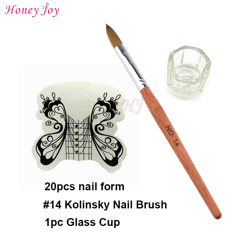 Pro Acrylic Nails Tool Kit Set SIZE no.14 Kolinsky Sable Acrylic Nail Art Brush+20pcs White Butterfly Nail Form+Glass Cup цена и фото