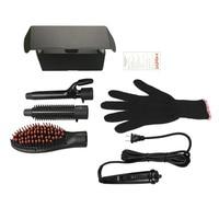 3 In 1 Tourmaline Ceramic Set Interchangeable Hair Curler Hot Brush Hair Straightener Brush With Gloves