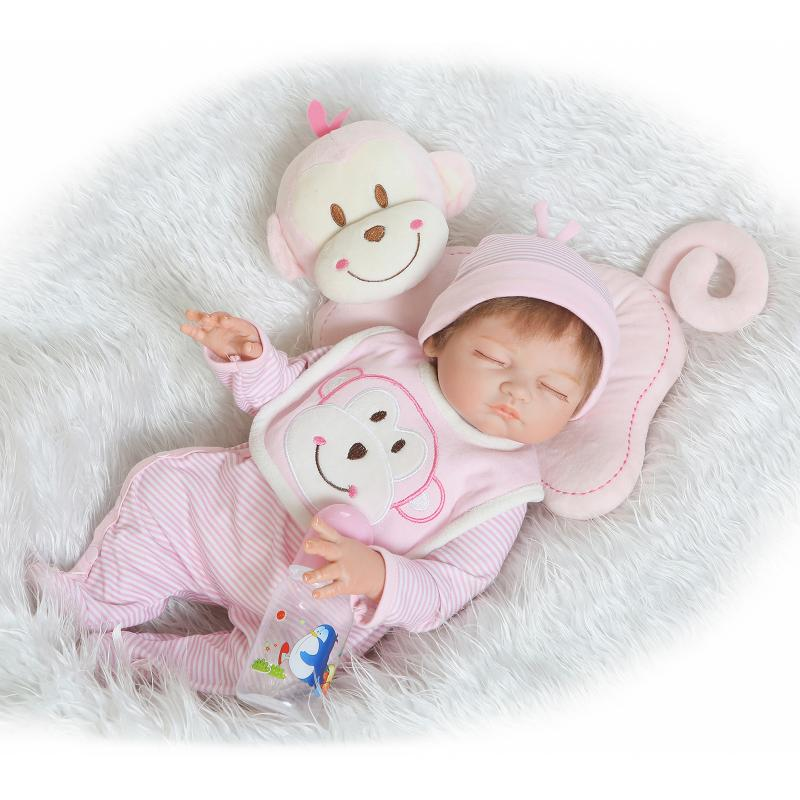 Nicery 20inch 50cm Bebe Reborn Doll Hard Silicone Boy Girl Toy Reborn Baby Doll Gift for Children Pink Red Monkey Baby Doll nicery 18inch 45cm reborn baby doll magnetic mouth soft silicone lifelike girl toy gift for children christmas pink hat close