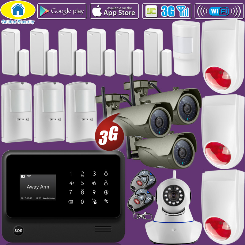 Kit 1080P WiFi IP Camera G90B Plus+ WiFi 3G GSM WCDMA Home Alarm System Security,Pet Immune Motion Detectors,720P WiFi IP Camera golden security g90b plus 3g gsm wifi ios android app control home security alarm system fire alarm kit 720p wifi ip camera