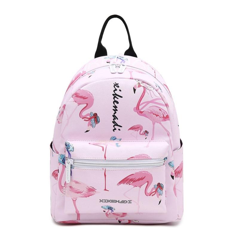 ZHIERNA Women Fashion 3D Printing Backpack Schoolbag For Teenage Girls Travel Bag PU Leather Mini  Flamingo Bag