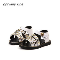 CCTWINS KIDS 2018 Summer Children Barefoot Stud Princess Sandal Baby Girl Pu Leather Flat Toddler Brand
