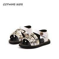 CCTWINS KIDS 2018 Summer Children Barefoot Stud Princess Sandal Baby Girl Pu Leather Flat Toddler Brand