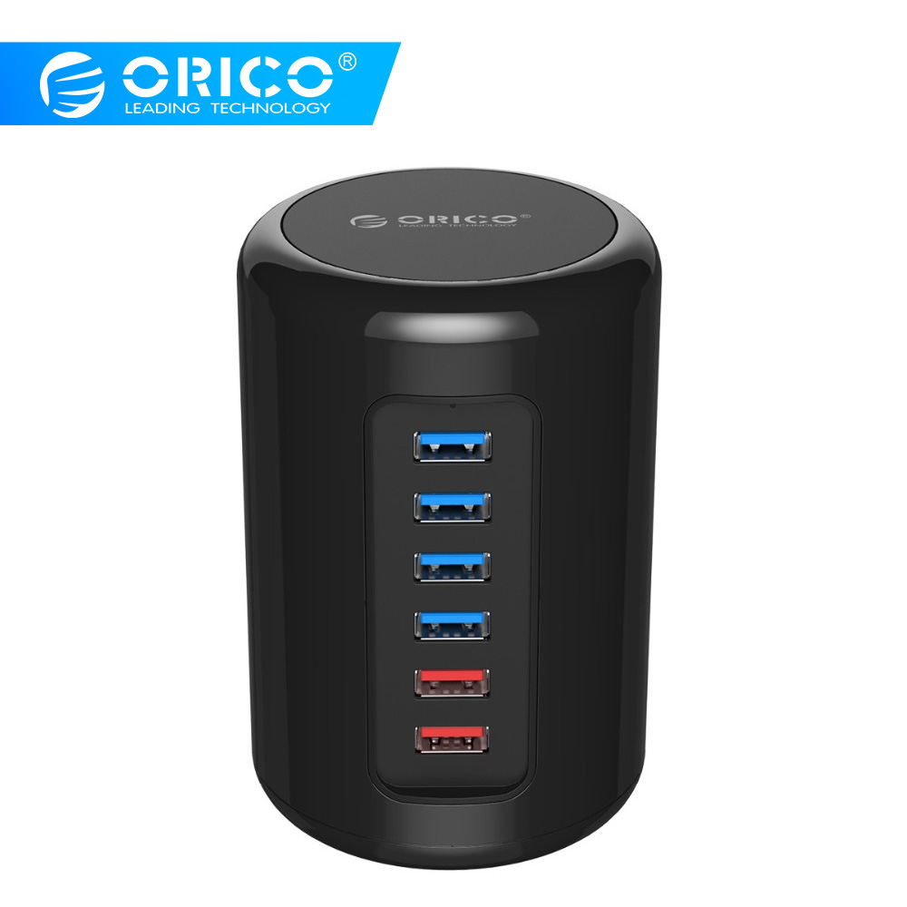 ORICO USB HUB 4 Port USB3 0 Cylinder HUB Splitter with Data Cable and 2 Charging