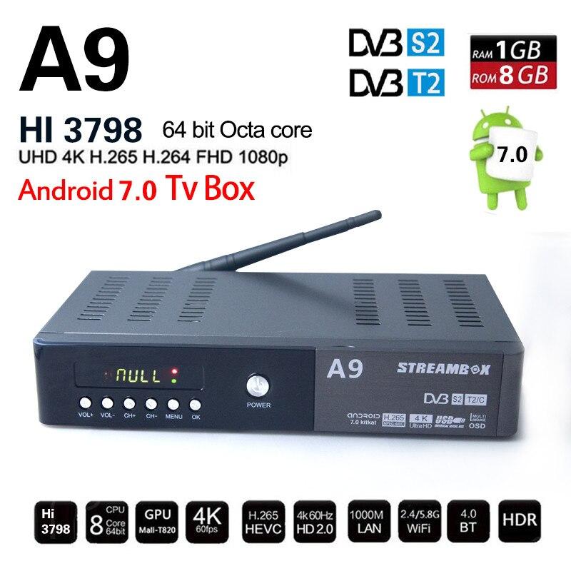 A9 Plus DVB-S2 DVB-T2 DVB-C Android Combo Récepteur Satellite Récepteur Décodeur hi3798 chipset Android 4 K H.265 USB3.0 Set Top boîte