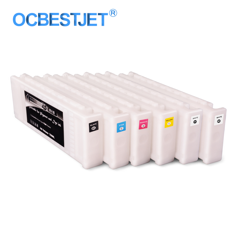 6Colors/Set T7251-T7254 T725A Compatible Ink Cartridge Filled With Garment Ink For Epson SureColor SC-F2000 F2000 F2100 700ML/PC6Colors/Set T7251-T7254 T725A Compatible Ink Cartridge Filled With Garment Ink For Epson SureColor SC-F2000 F2000 F2100 700ML/PC